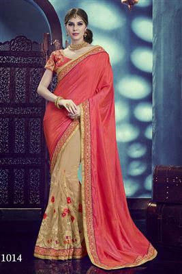 image of Wedding Wear Pink Color Embroidered Saree in Net-Lycra Fabric
