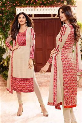 image of Ayesha Takia Cream Color Designer Dress Material in Georgette Fabric