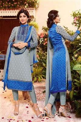 image of Grey Color Georgette Fabric Salwar Kameez Featuring Shilpa Shetty