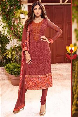 image of Shilpa Shetty Red Color Salwar Kameez In Georgette Fabric