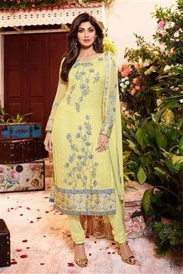 image of Shilpa Shetty Yellow Color Designer Georgette Fabric Salwar Suit