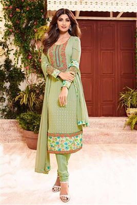 image of Party Wear Mehendi Green Color Georgette Fabric Salwar Suit Featuring Shilpa Shetty