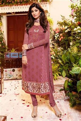 image of Ayesha Takia Party Wear Georgette Salwar Kameez In Pink Color