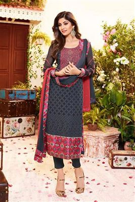 image of Grey Color Georgette Fabric Designer Salwar Kameez Featuring Shilpa Shetty