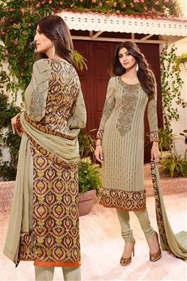 image of Shilpa Shetty Beige Color Salwar Kameez In Georgette Fabric