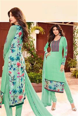 image of Shilpa Shetty Sea Green Color Designer Georgette Fabric Salwar Suit
