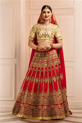 image of Embroidered Peach Color Designer Lehenga Choli in Net Fabric