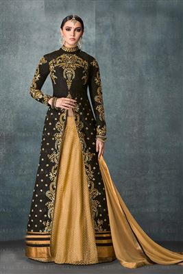 image of Cream Color Designer Salwar Kameez in Georgette Fabric with Embroidery