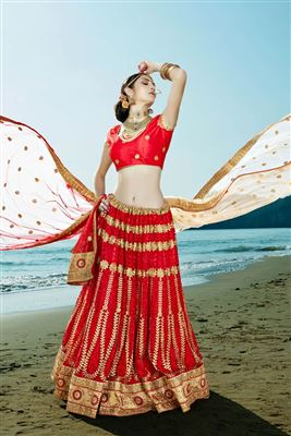 image of Peach Color Festive Wear Designer Lehenga Choli in Net And Lycra Fabric
