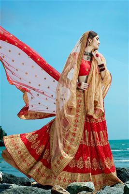 image of Scintillating Designer Turquoise Color Net Lehenga Choli