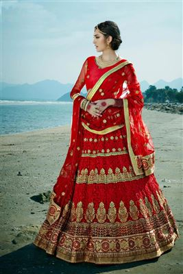 image of Wedding Wear Turquoise Color Embroidered Net Lehenga Choli
