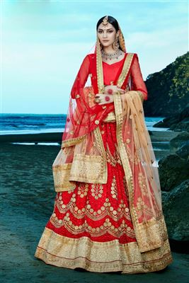 image of Beige Brocade Sharara Top Lehenga Choli-1006
