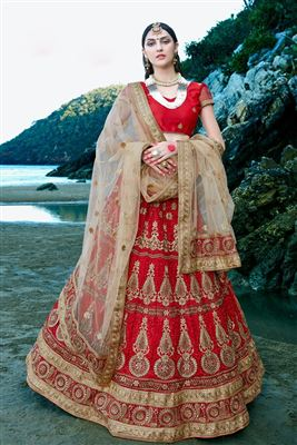 image of Cream Festive Wear Net Lehenga Choli-2160