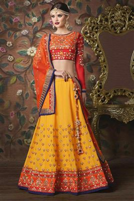image of Green Color Designer Silk Fabric Lehenga With Silk Fabric Choli