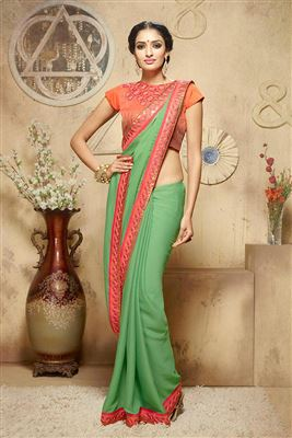 image of Maroon Party Wear Designer Georgette Saree