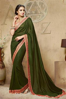 image of Green-Orange Embroidered Festive Wear Saree-9016
