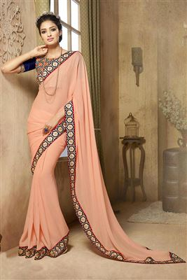 image of Glorious Pink And Beige Color Embroidered Saree