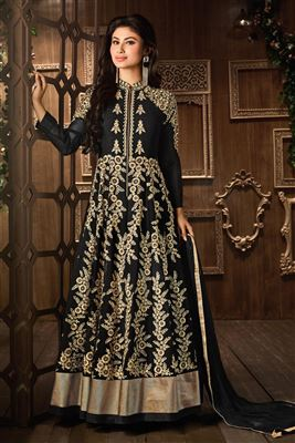 image of Mouni Roy Black Color Anarkali Salwar Kameez in Georgette Fabric