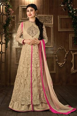image of Designer Beige Color Net Anarkali Salwar Suit Featuring Mouni Roy