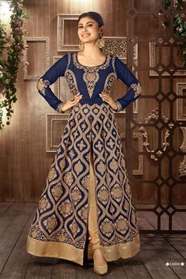 image of Mouni Roy Floor Length Designer Georgette Anarkali Suit in Navy Blue Color