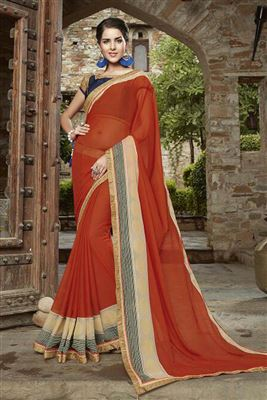 image of Orange Designer Georgette Saree with Embroidery