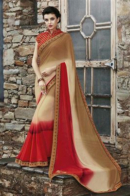 image of Red Color South Indian Style Party Wear Chanderi Silk Saree