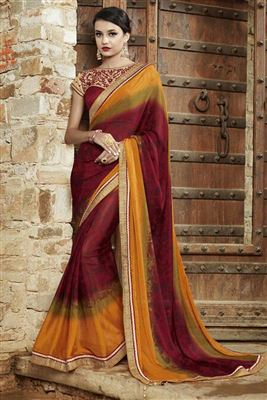 image of Yellow Embroidered Designer Georgette Saree