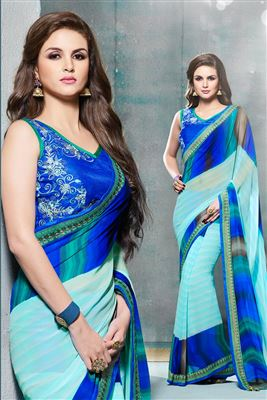 image of Green Party Wear Chiffon Saree-5705