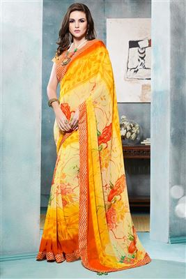 image of Yellow Wedding Wear Designer Lehenga Saree -3120