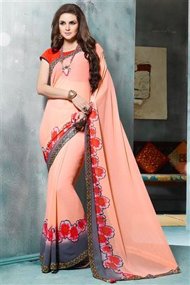 image of Cream Color Fancy Print Party Wear Designer Saree In Georgette Fabric