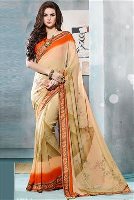 image of Cream-Maroon Party Wear Printed Crepe Saree