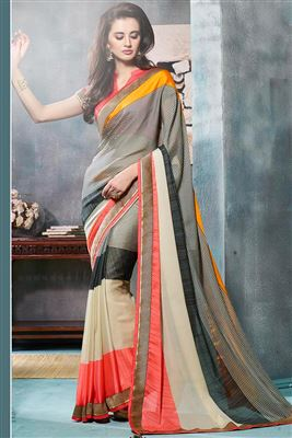 image of Georgette Fabric Party Wear Saree In Cream Color With Raw Silk Blouse