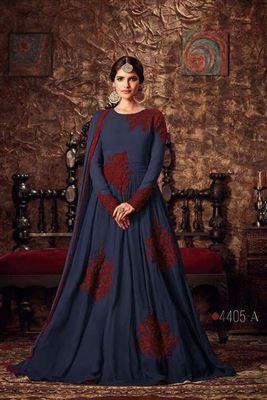 149c2c53ac image of Dark Grey Designer Party Wear Banarasi Silk Anarkali Salwar Kameez