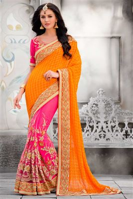 image of Wedding Wear Pink Color Designer Georgette And Net Fabric Embroidered Saree