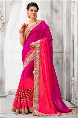 image of Georgette Fabric Mustard Color Party Saree with Border