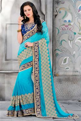 image of Red-Sea Green Color Mesmerizing Designer Saree-210