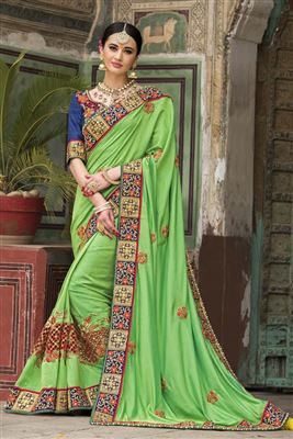 image of Blue-Green Color Fancy Fabric Designer Party Wear Saree