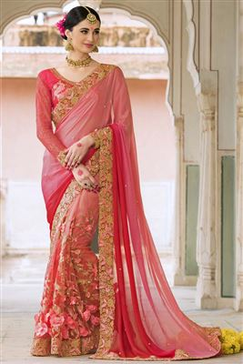 image of Beige-Orange Designer Saree with Heavy Work-7207