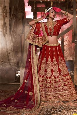 image of Red Net-Satin Designer Lehenga Choli-13914