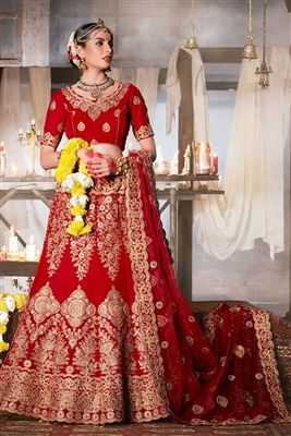 image of Wedding Wear Embroidered Viscose-Jacquard Fabric Lehenga Choli in Beige Color