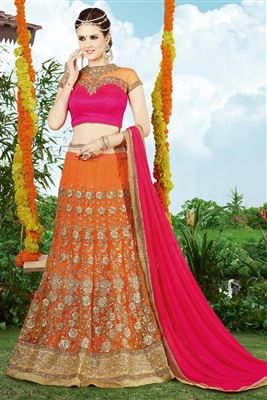 image of Beige-Red Net Lehenga Choli for Wedding