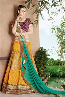 image of Festive Wear Embroidered Net Lehenga Choli in Blue Color