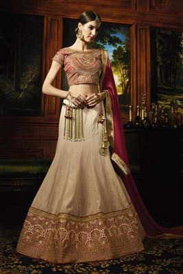 image of Fancy Silk Fabric Embroidered Beige Color Designer 3 Piece Lehenga Choli