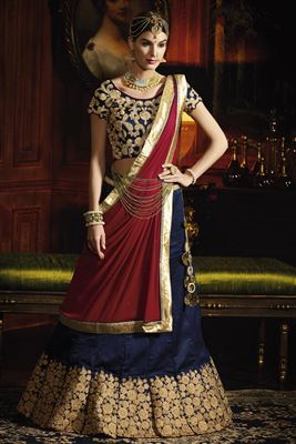 image of Fabulous Festive Wear Red Color Net 3 Piece Lehenga