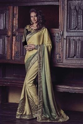 image of Red-Beige Bhagalpuri Silk Saree with Blouse-14486