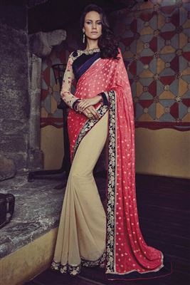 image of Black Kashmiri Work Georgette Saree with Blouse