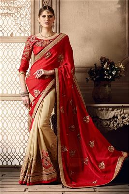 image of Glorious Sky Blue And Beige Color Designer Saree
