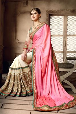 image of Beige-Pink Silk-Net Embroidered Saree with Blouse