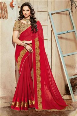 image of Red-Sky Blue Festive Wear Designer Chiffon Saree-9