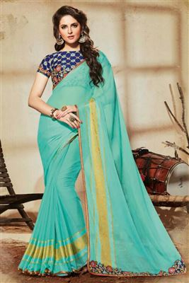 image of Designer Teal-Orange Color Half-Half Georgette-Fancy Fabric Saree